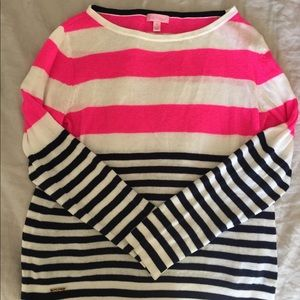 Lilly Pulitzer Hot Pink Navy Blue Cotton Sweater